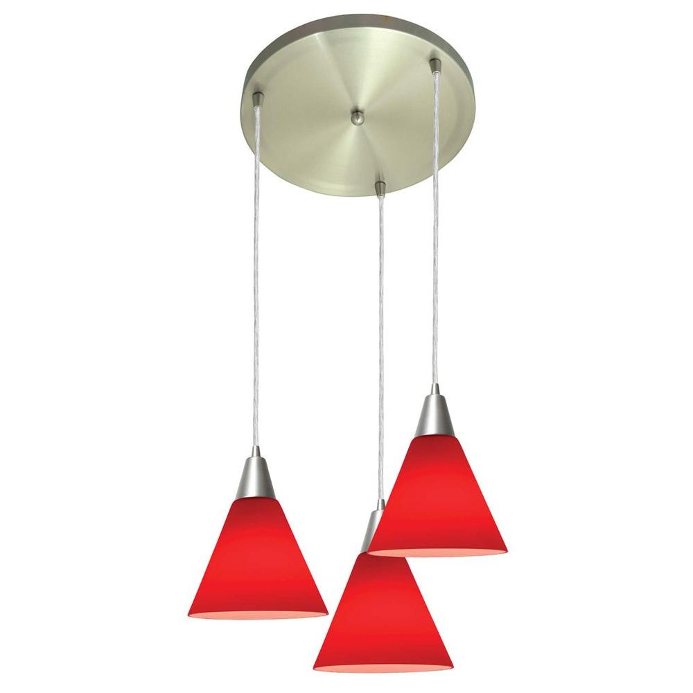 Access Lighting 3-Light Pendant Brushed Steel Finish Red Glass-DISCONTINUED