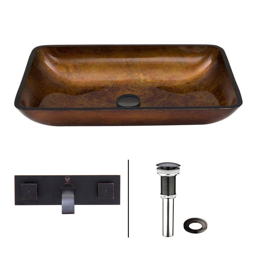 Vigo Rectangular Glass Vessel Sink in Russet with Wall-Mount Faucet Set
