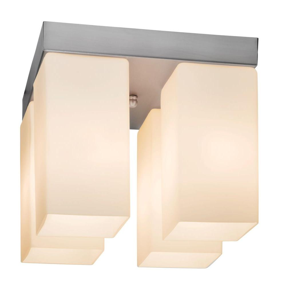 Access Lighting 4-Light Flush Mount Brushed Steel Finish Opal Glass-DISCONTINUED
