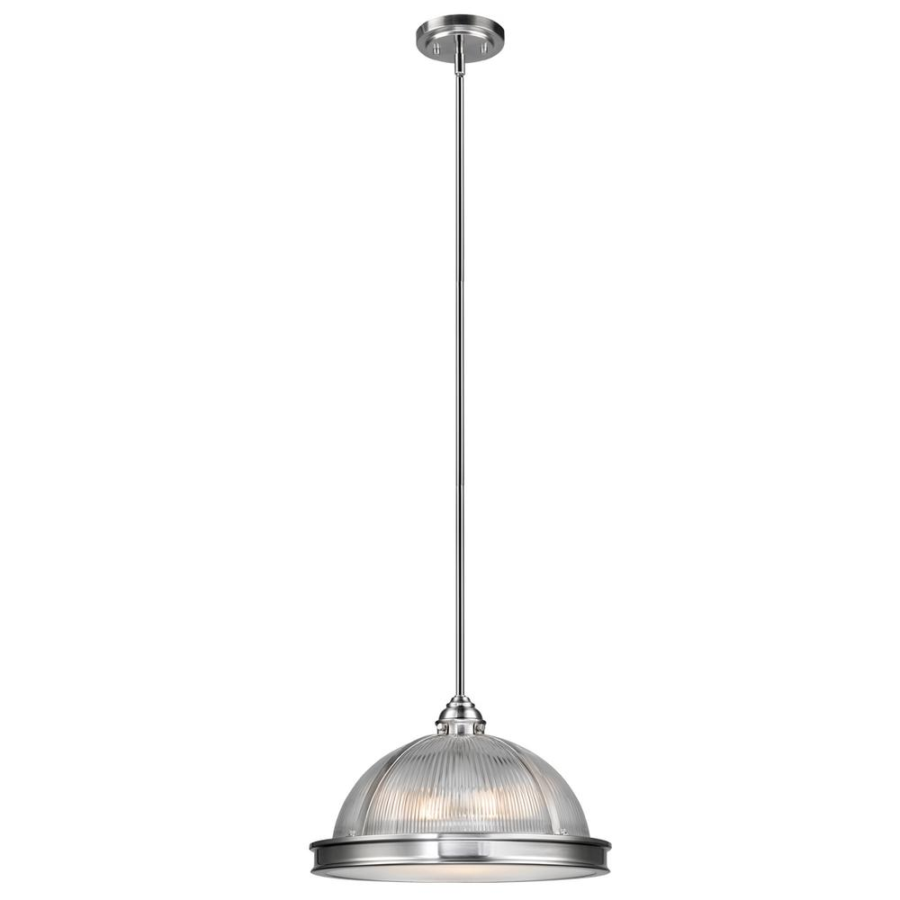 Tarley 3-Light Brushed Steel and Clear Glass Hanging Pendant