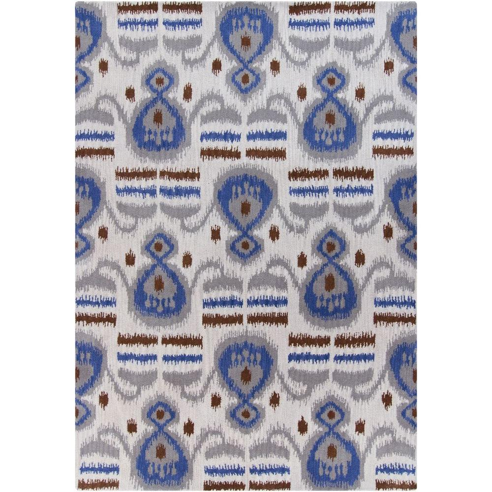 Lina White/Grey/Blue/Brown 5 ft. x 7 ft. Indoor Area Rug