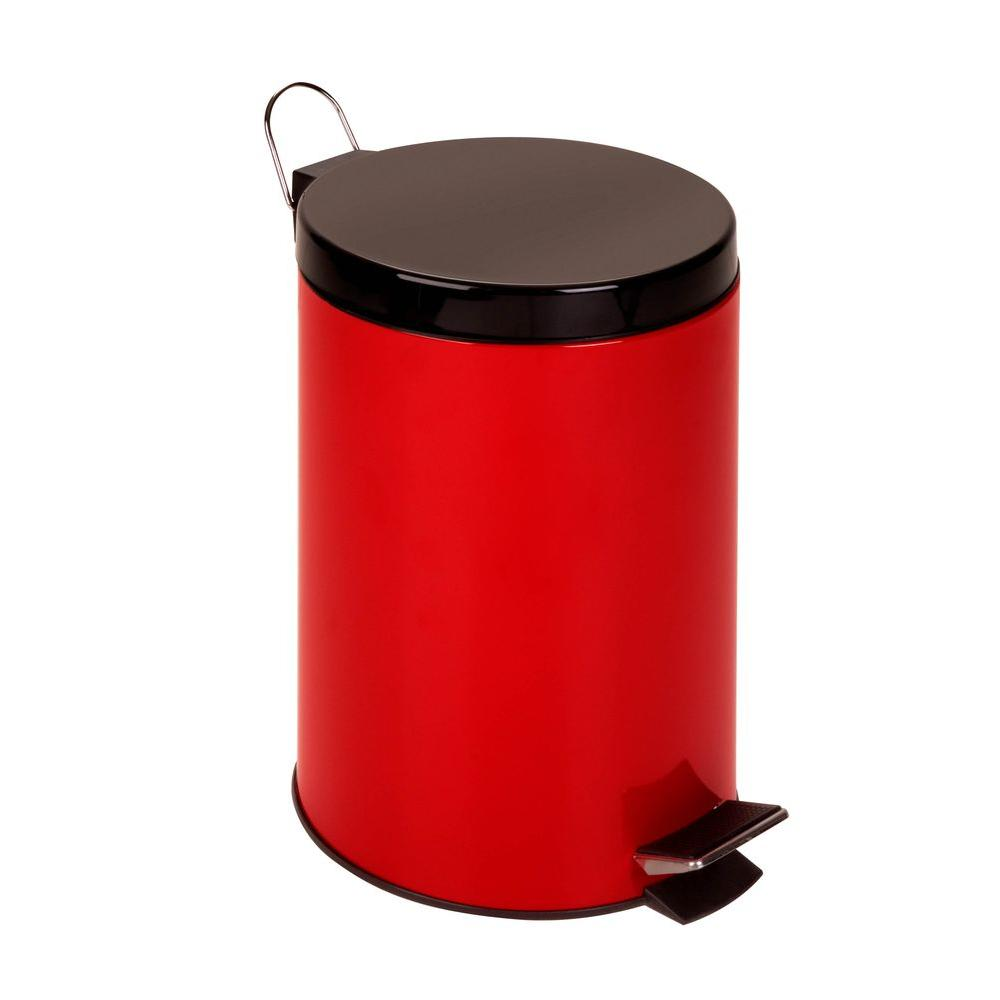Honey-Can-Do 12 l Red Round Metal Step-On Touchless Trash Can-TRS-02073 -