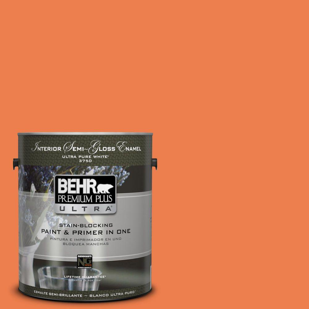 BEHR Premium Plus Ultra 1 gal. #P200-6 Sizzling Sunset Semi-Gloss Enamel