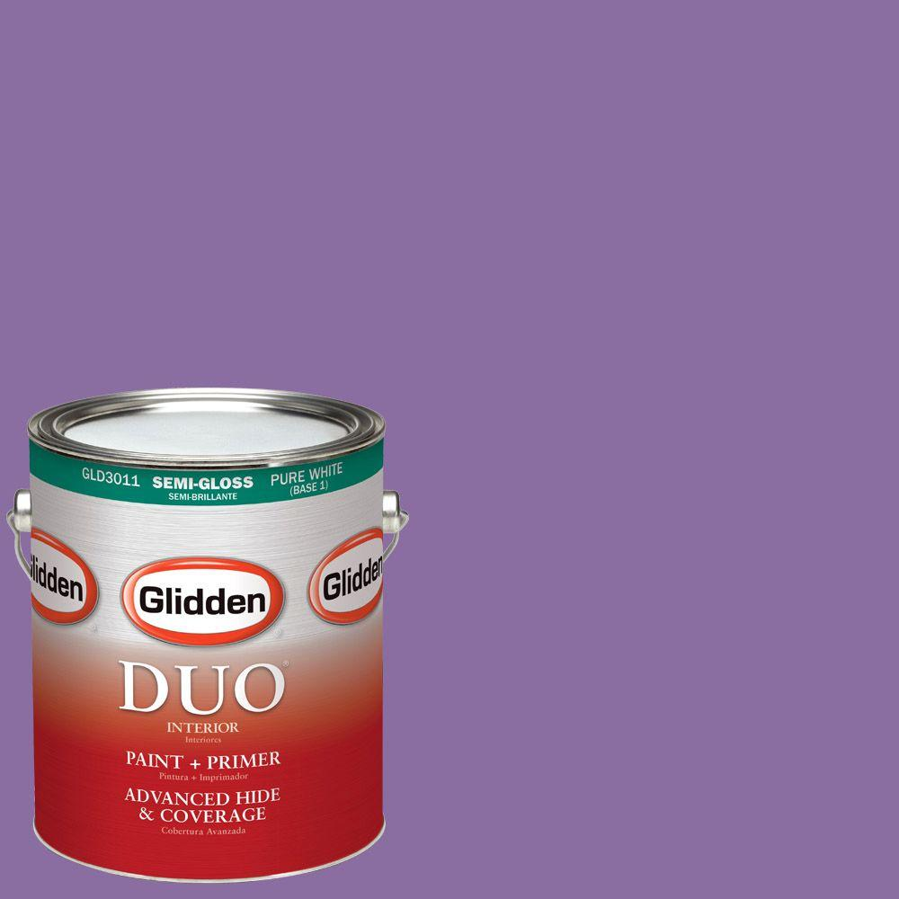 Glidden DUO 1-gal. #HDGV54D Up Tempo Violet Semi-Gloss Latex Interior Paint
