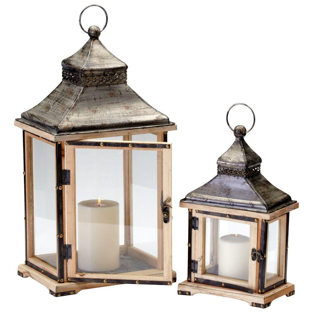Prospect 23 in. Raw Iron and Natural Wood Candle Holder Lanterns