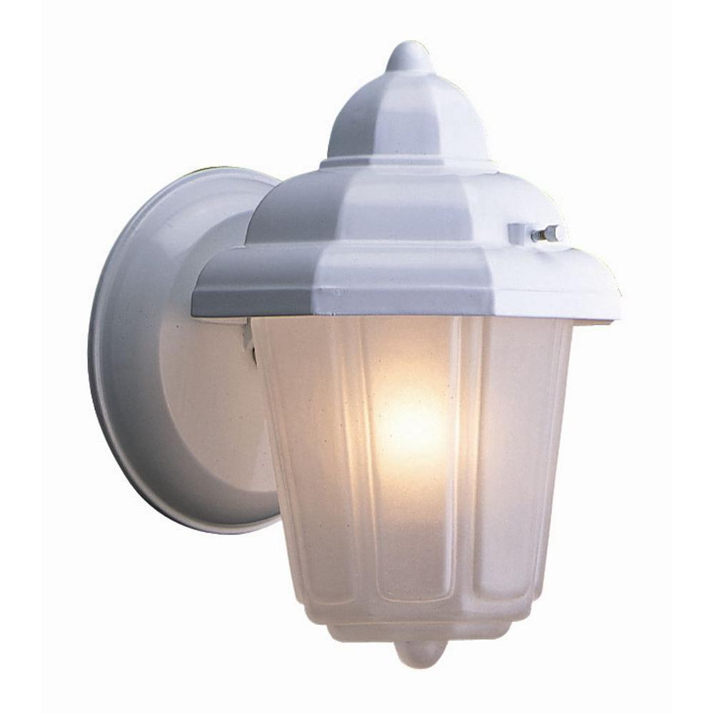 Maple Street White Outdoor Wall-Mount Downlight with Frosted Glass