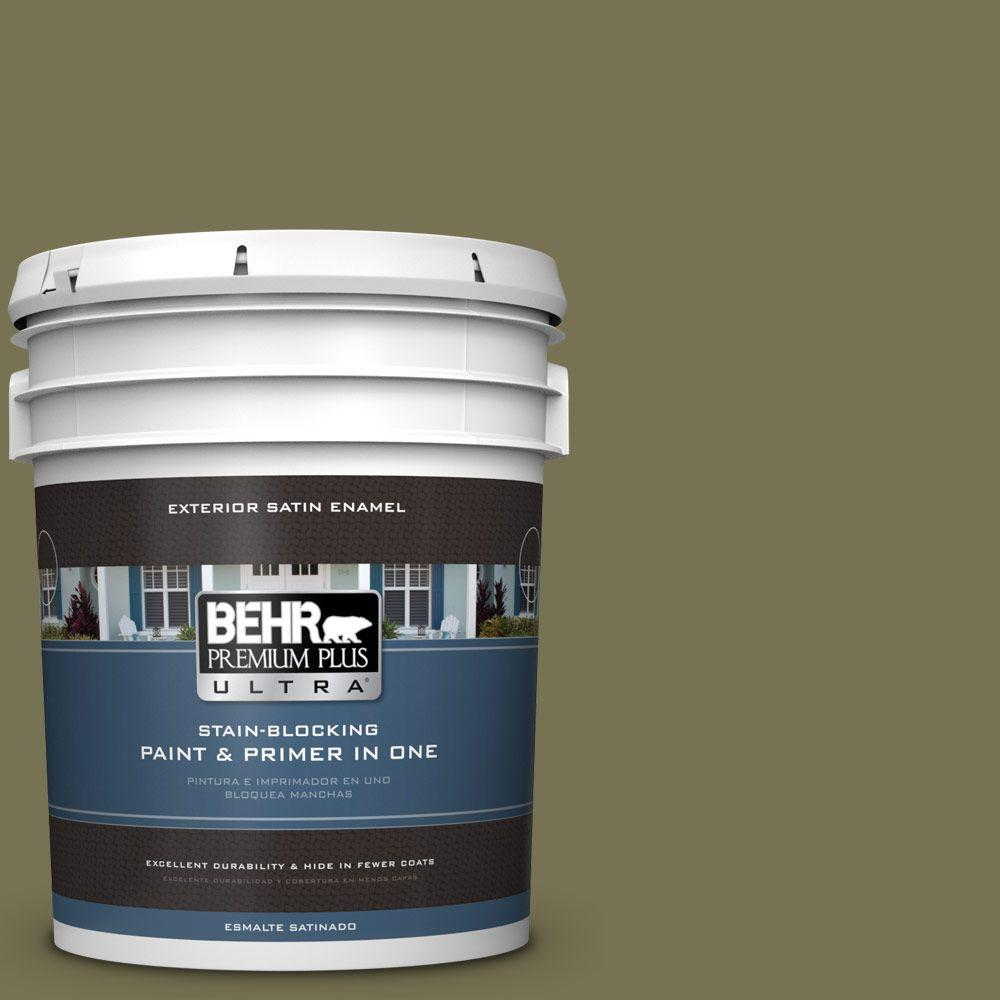 BEHR Premium Plus Ultra 5-gal. #S350-6 Truly Olive Satin Enamel Exterior Paint