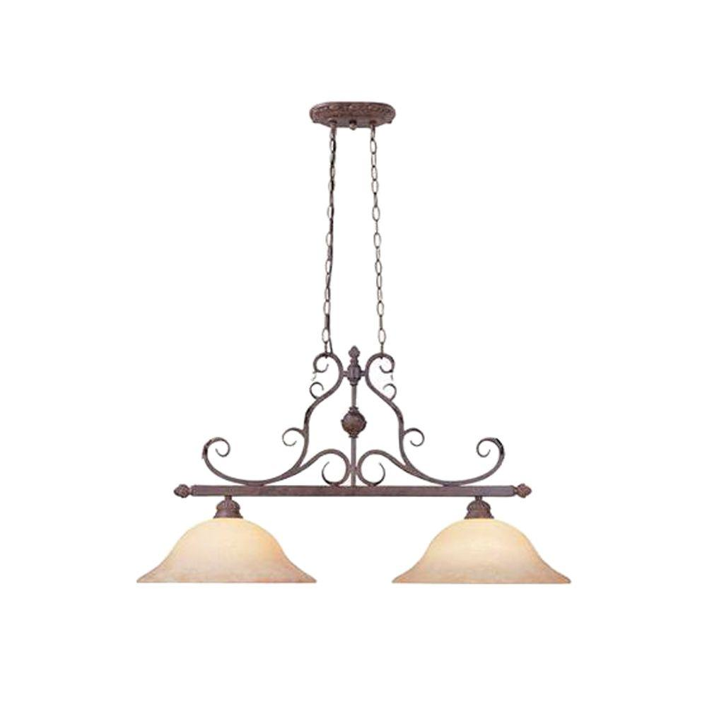 Designers Fountain Kadapa Collection 2-Light Ancient Oak Hanging Island Light