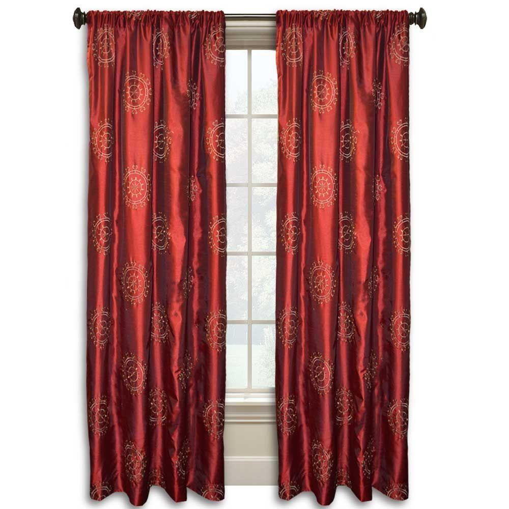 null Eva Suzani 84 in. L Red/Gold Faux Silk Rod Pocket Curtain
