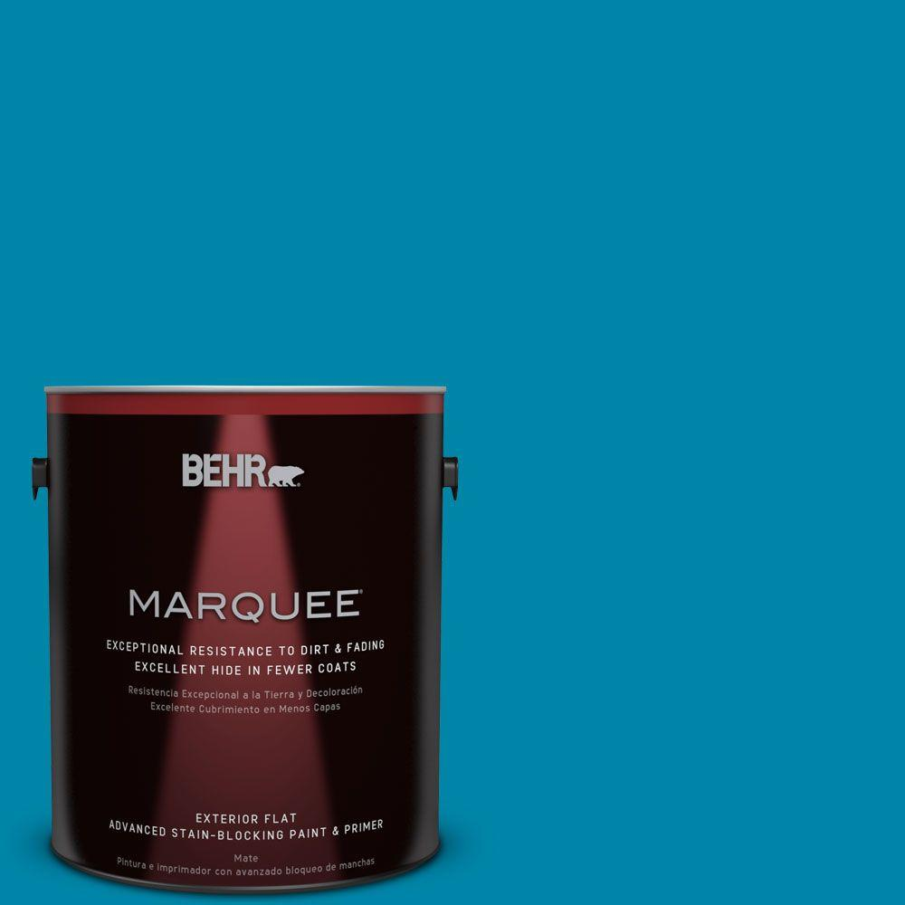 BEHR MARQUEE 1-gal. #MQ4-53 Tibetan Turquoise Flat Exterior Paint-445301 - The