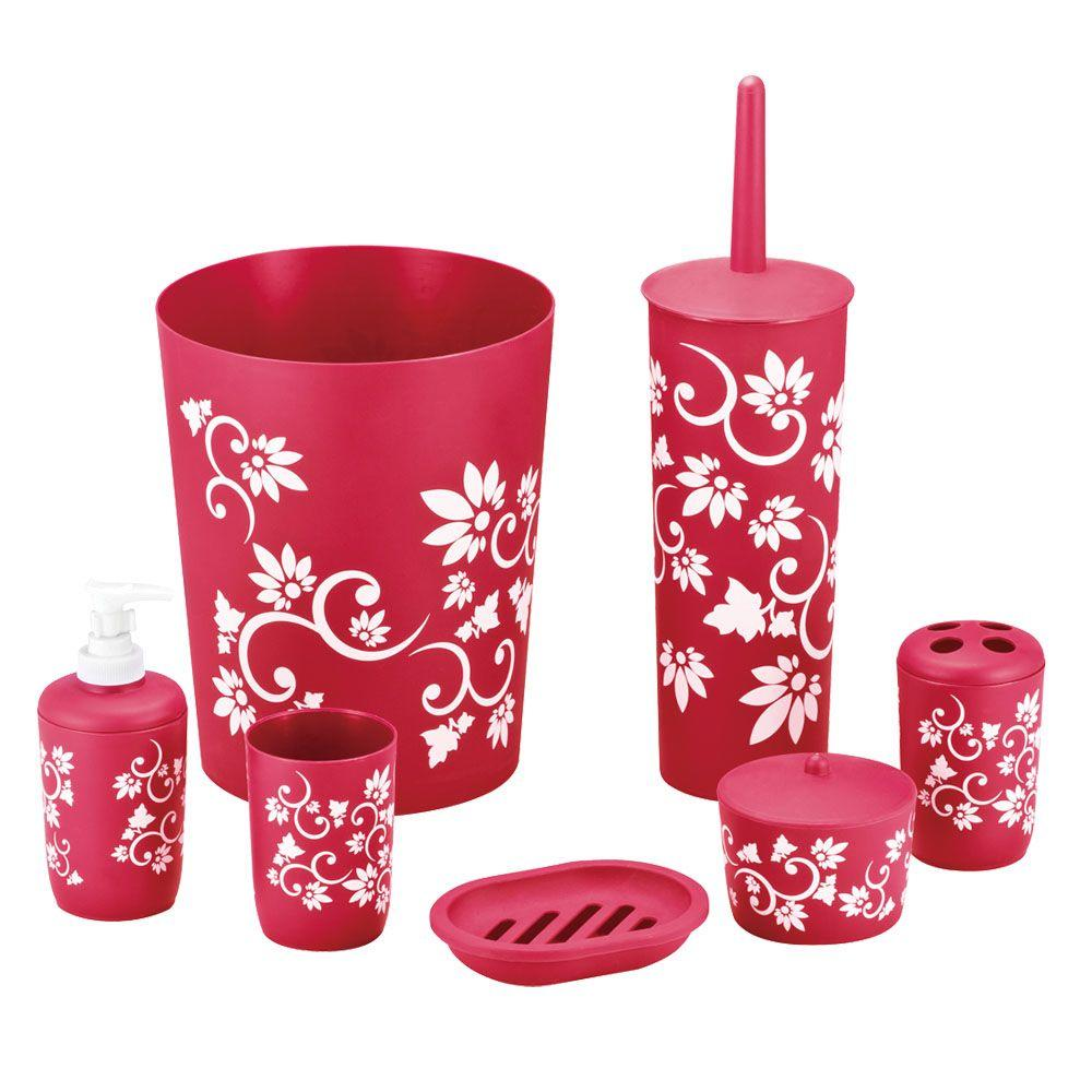 Hopeful floral 7 piece bath accessory set in red ba120200 for Floral bathroom accessories set