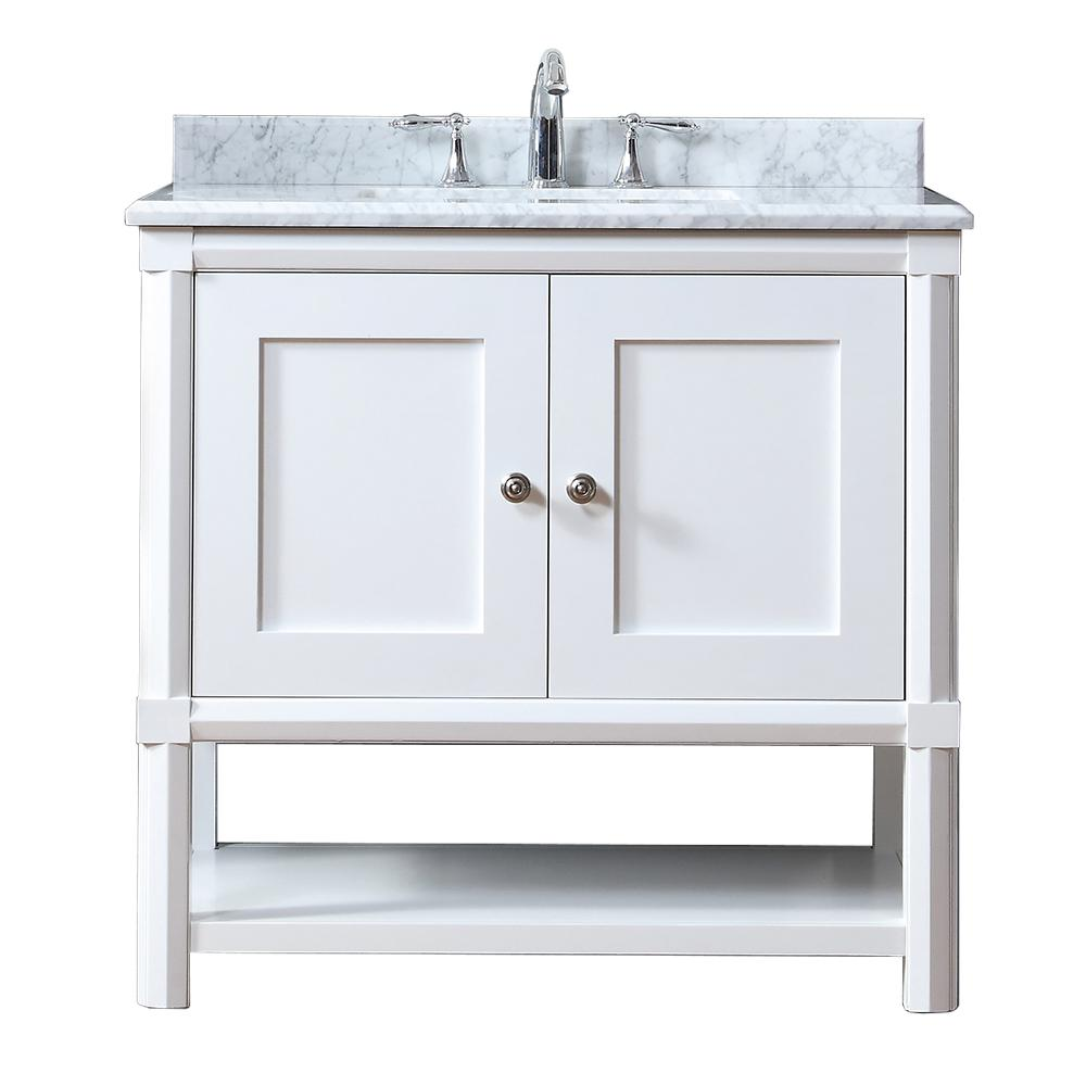 Martha Stewart Living Sutton 36 In W X 22 In D Vanity In Bright White With Marble Vanity Top