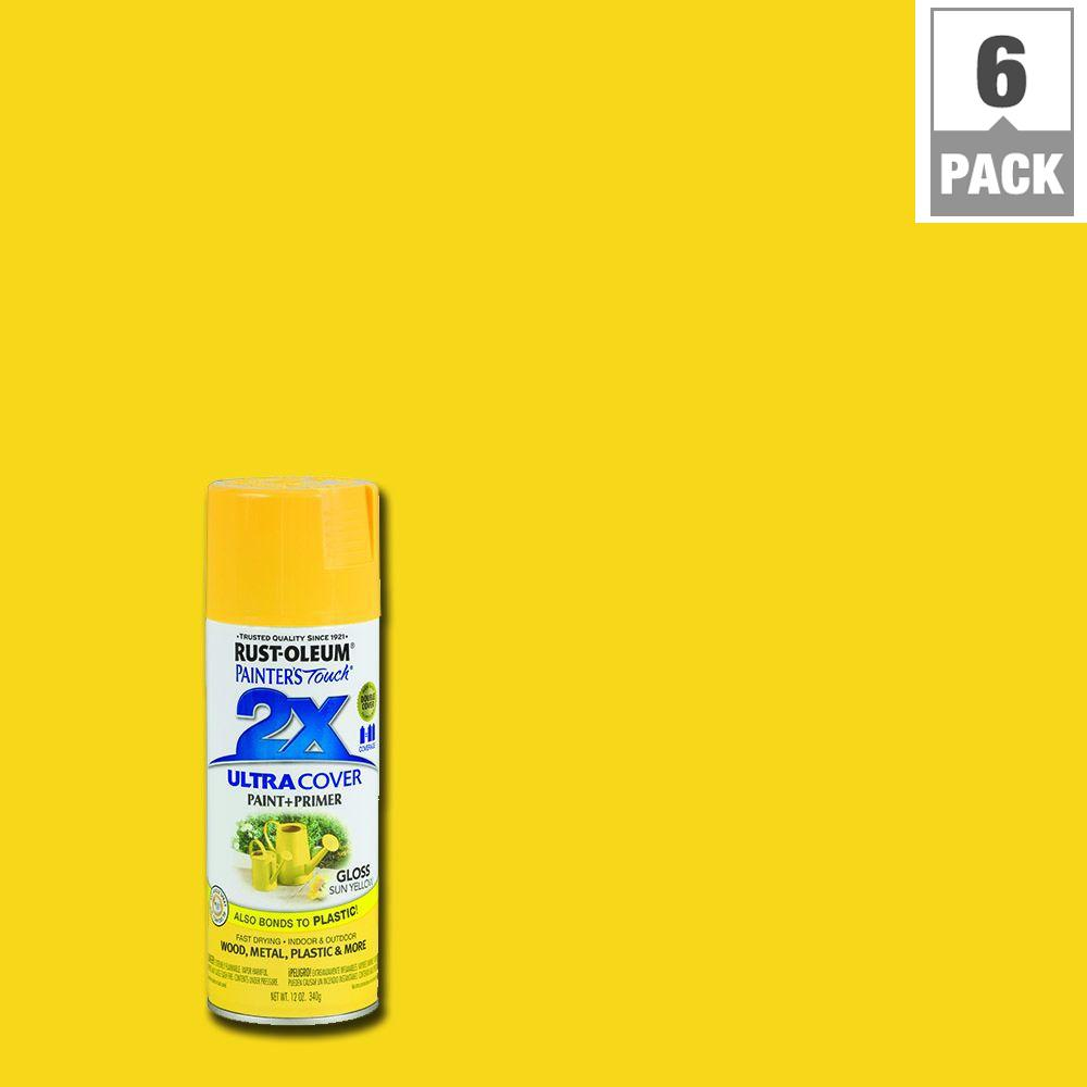 Rust oleum painter 39 s touch 2x 12 oz gloss sun yellow Bright yellow wall paint