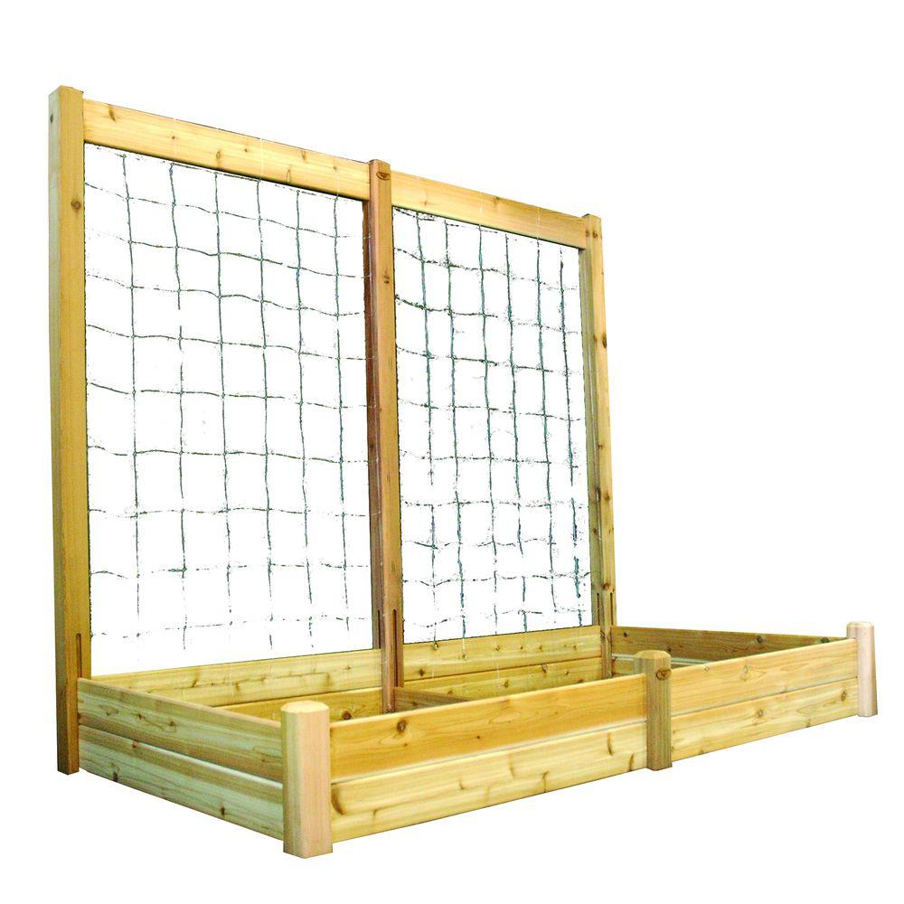 Gronomics 48 in. x 95 in. x 13 in. Raised Garden Bed with 95 in. W x 80 in. H Trellis Kit