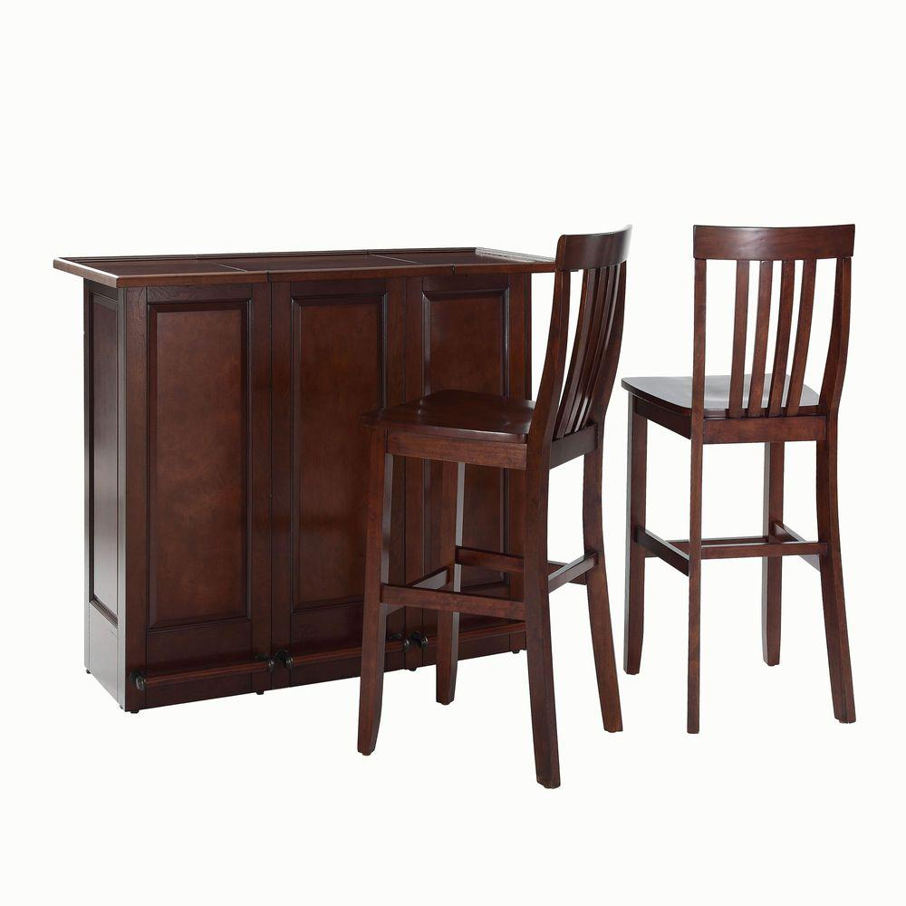 Crosley 48-3/4 in. W Mobile Folding Bar with Two 30 in. School House Bar Stools in Mahogany