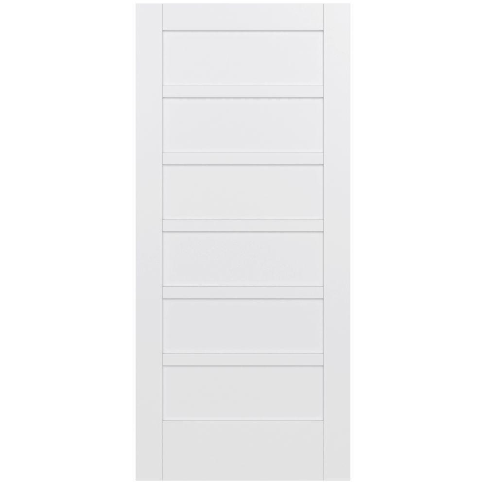 Jeld wen 36 in x 80 in moda primed white 6 panel solid core wood interior door slab for Solid wood interior doors home depot