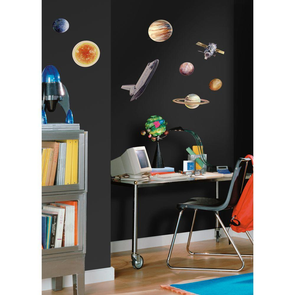 null 10 in. x 18 in Space Travel 24-Piece Peel and Stick Wall Decals