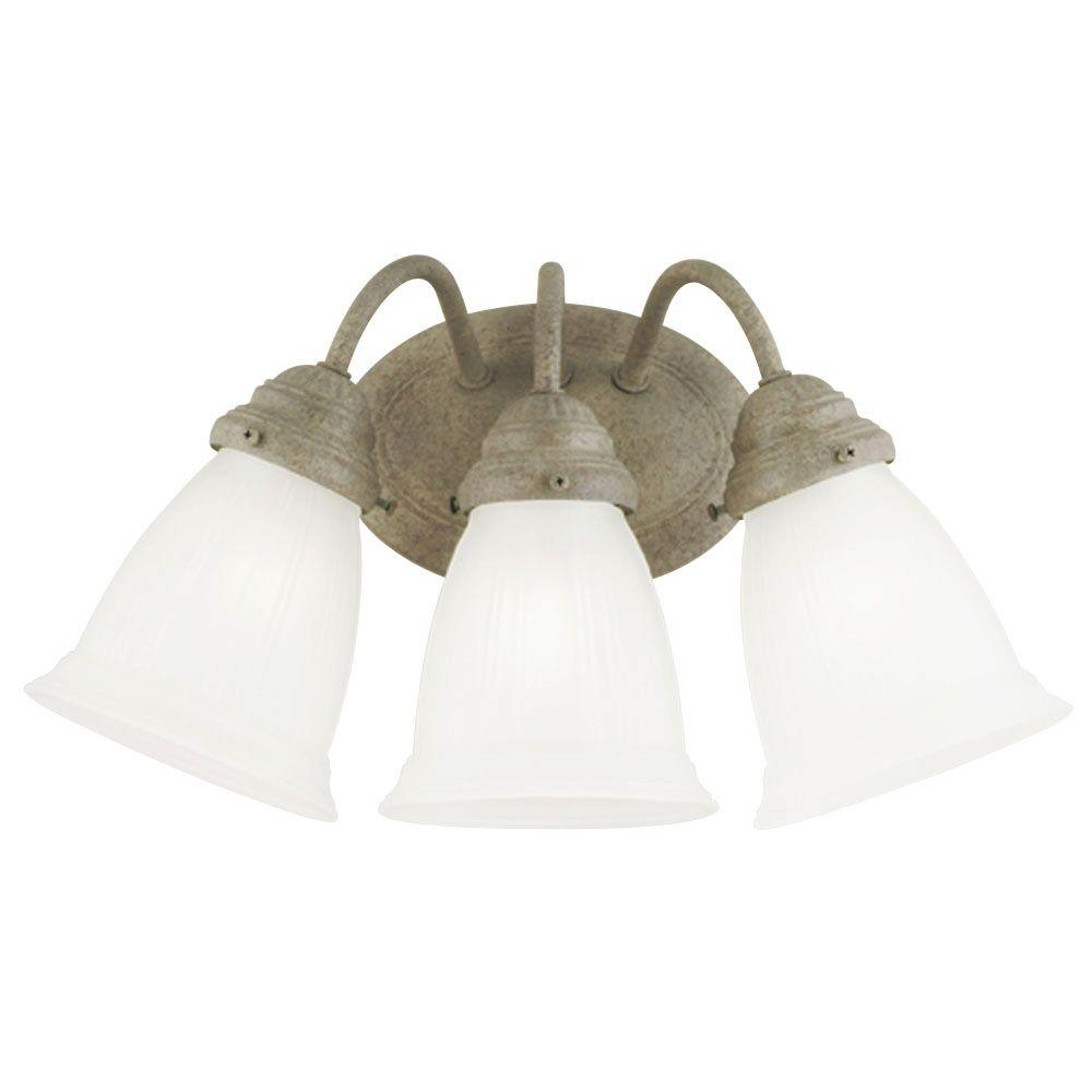 3-Light Cobblestone Interior Wall Fixture with Frosted Glass