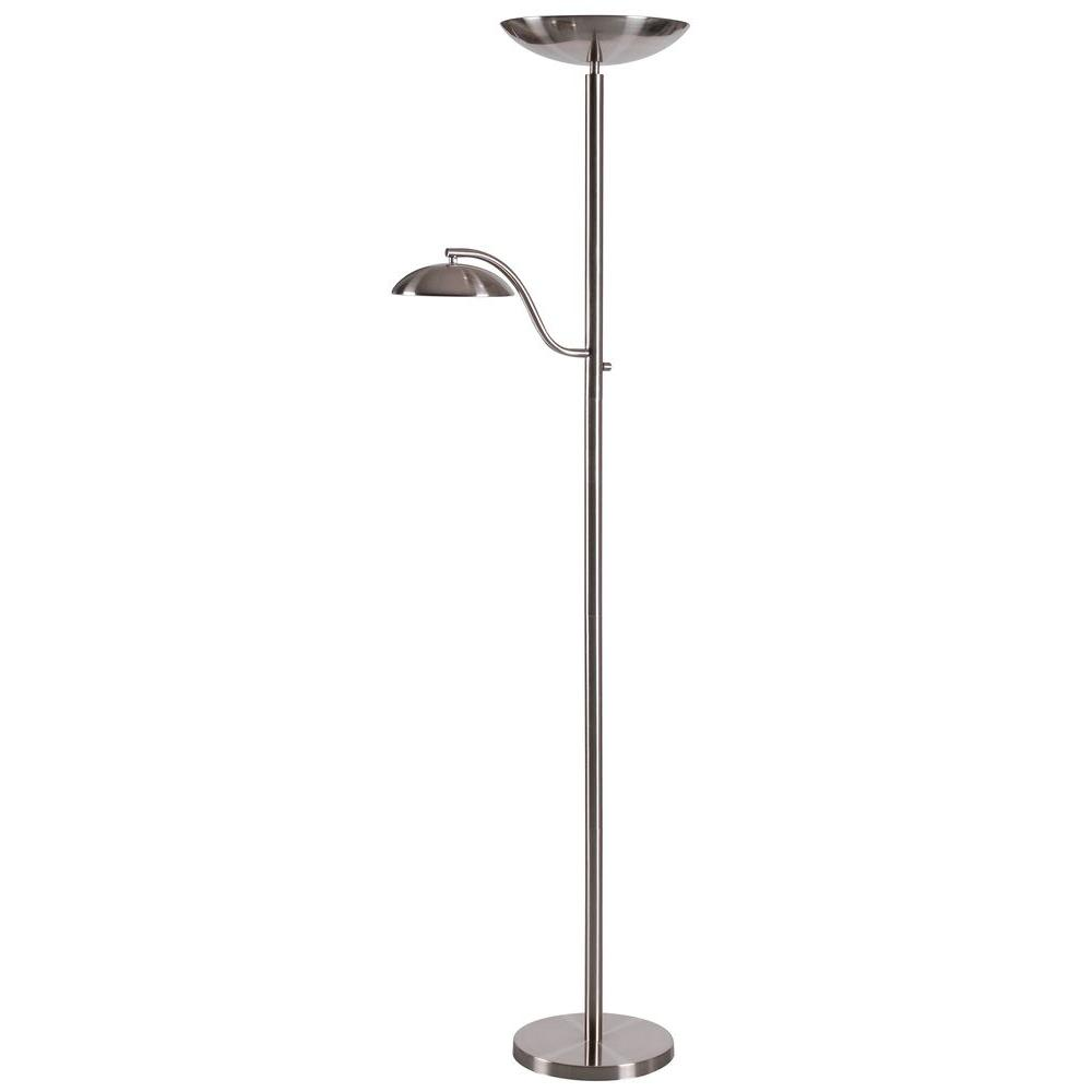Crescent 70 in. Brushed Steel Torchiere