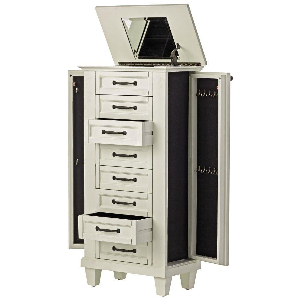 Home Decorators Collection Martin 7-Drawer Jewelry Armoire in Ivory-9689000440 -
