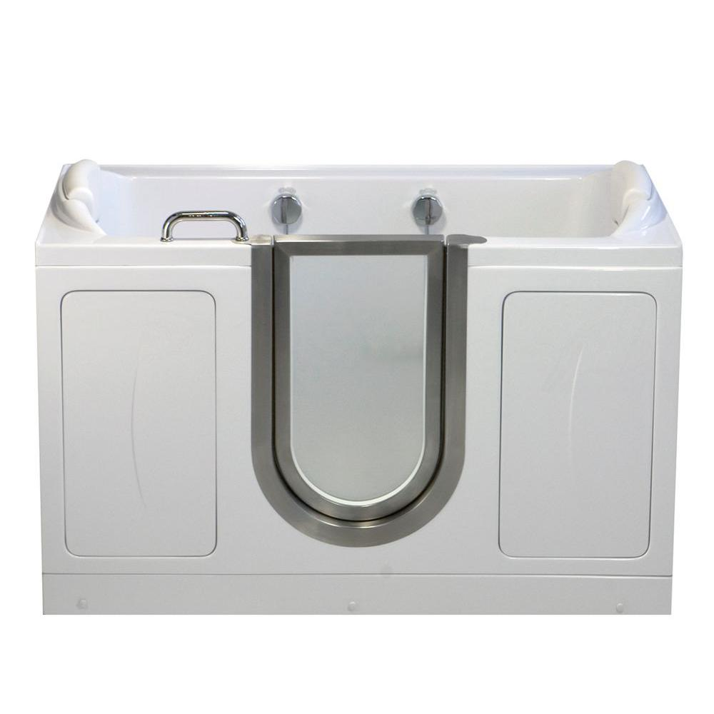 Ella Companion Two Seat 5 ft. x 30 in. Acrylic Walk-In Soaking Bathtub in White with Center Drain/Door