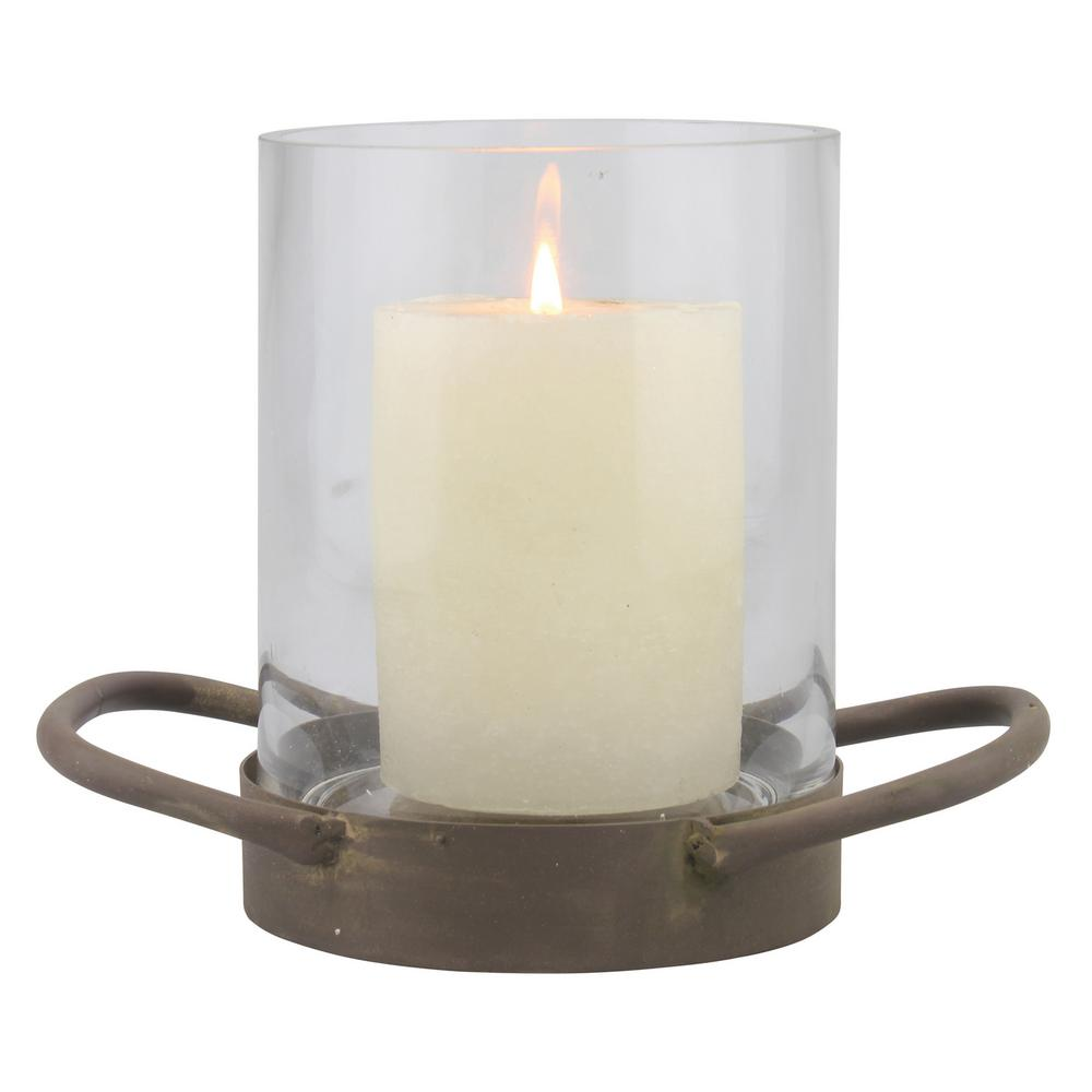 6.5 in. Brown Glass Hurricane Candle Holder, Browns/Tans