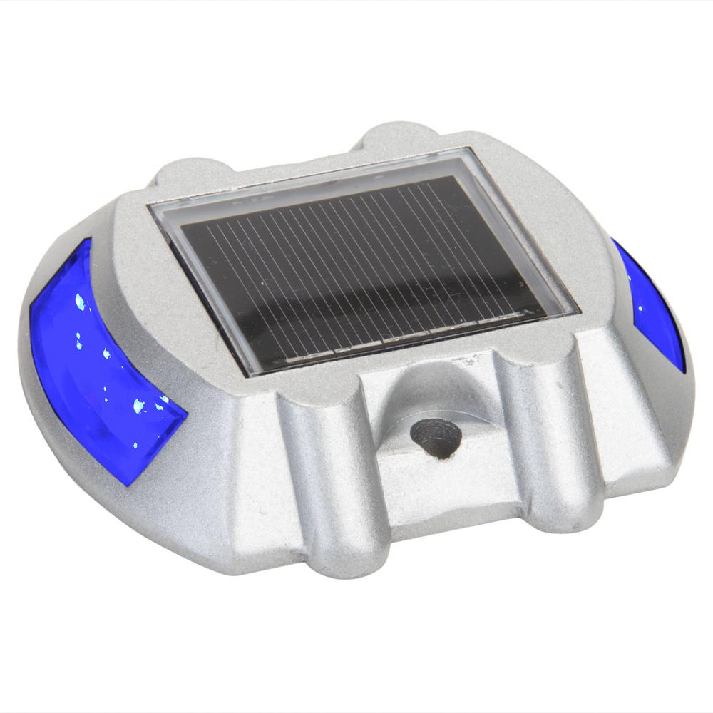 4 in. Solar Powered Integrated LED Blue Road Stud Deck Light