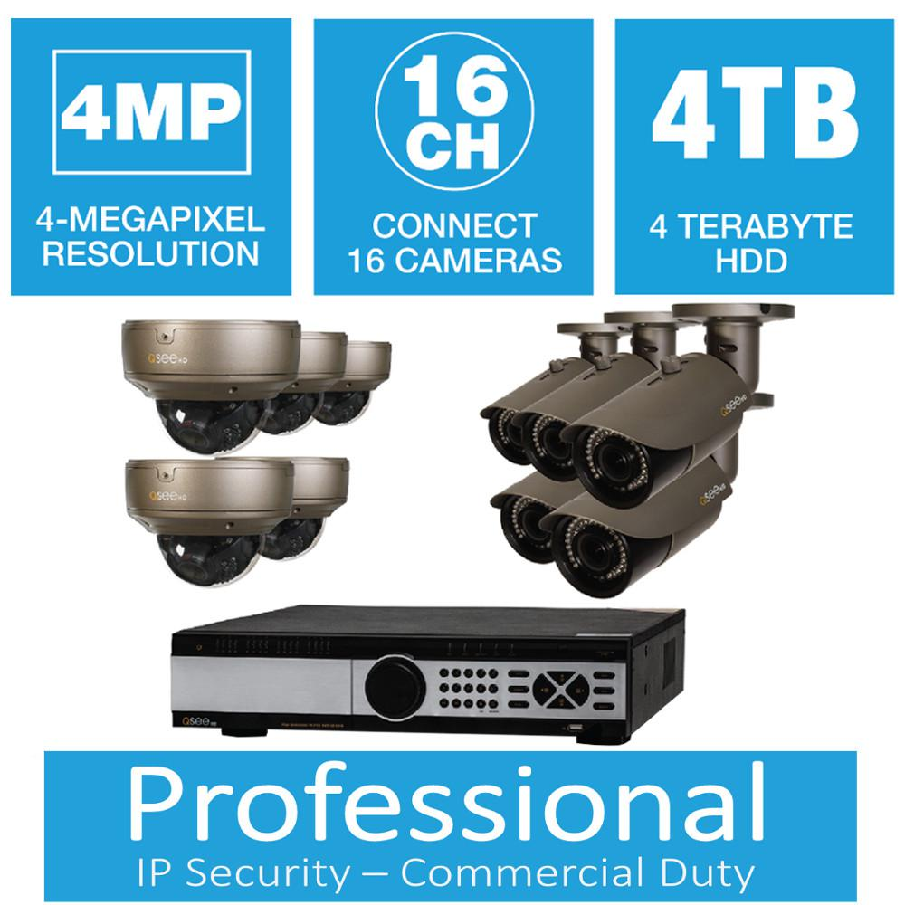 Q-SEE 16-Channel 4MP 4TB Network Video Recorder with (5) Bullet Cameras