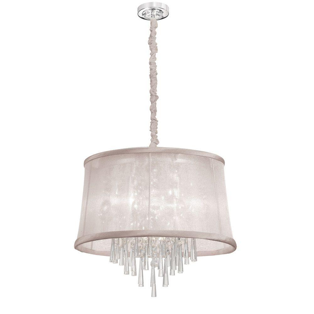 Radionic Hi Tech Julia 6-Light Polished Chrome Crystal Chandelier with Oyster Organza Shade