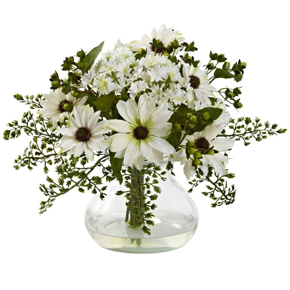 Mixed Daisy Arrangement with Vase, White