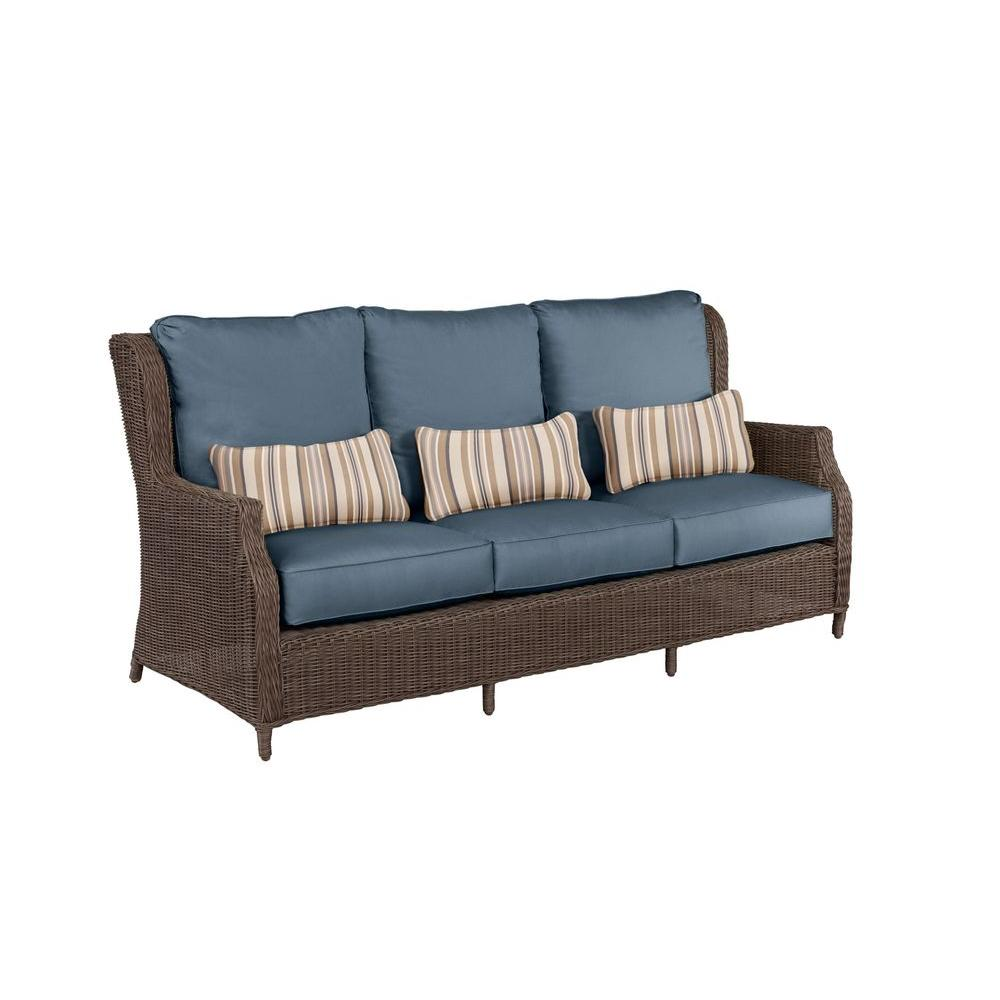 Brown Jordan Vineyard Patio Sofa with Denim Cushions and Terrace Lane