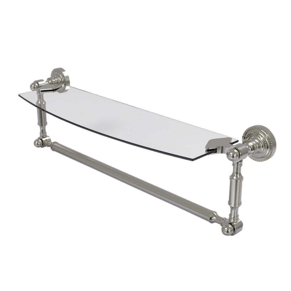 Allied Brass Dottingham 18 in. Glass Vanity Shelf with Integrated Towel