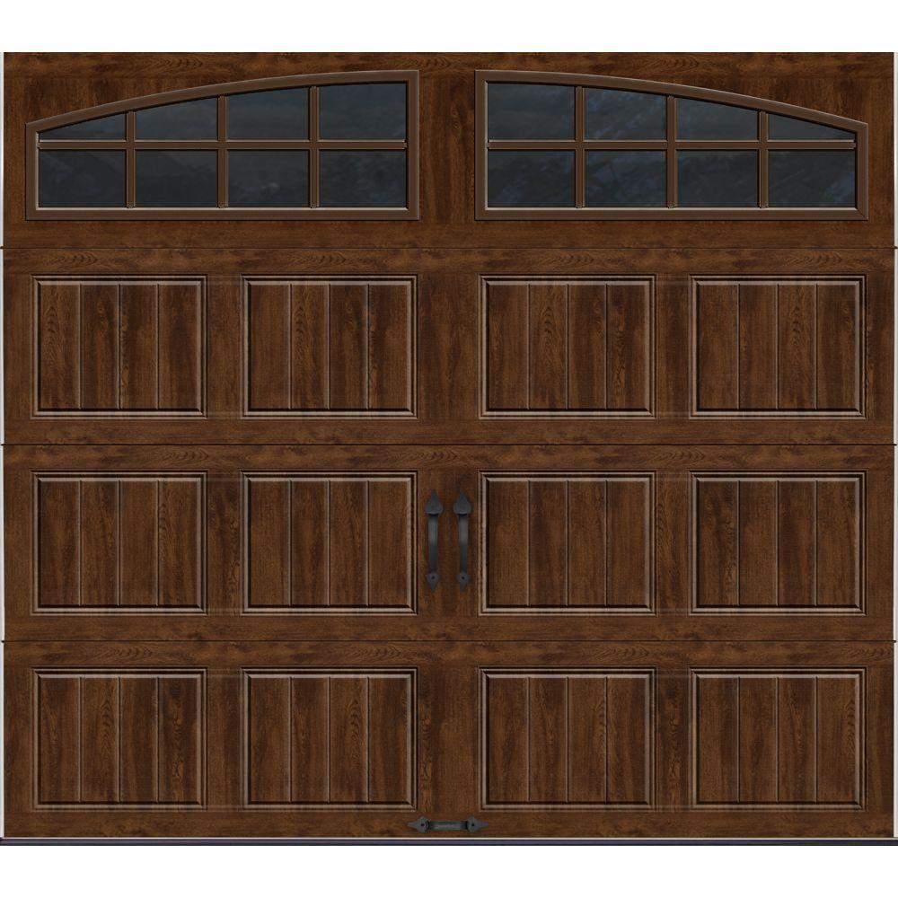 Clopay Gallery Collection 8 ft. x 7 ft. 18.4 R-Value Intellicore Insulated Ultra-Grain Walnut Garage Door with Arch Window