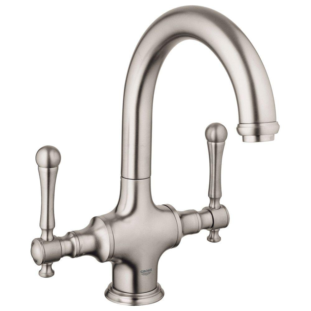 GROHE Bridgeford 2-Handle Bar Faucet in Brushed Nickel