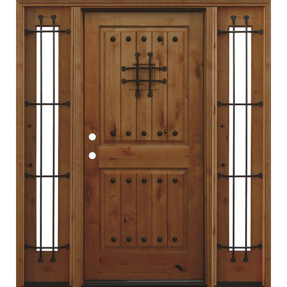 Pacific Entries 70in.x80in. Rustic 2-Panel V-Groove Stained Knotty Alder Wood Prehung Front Door w/6 in. Wall Series and 14in. Sidelites