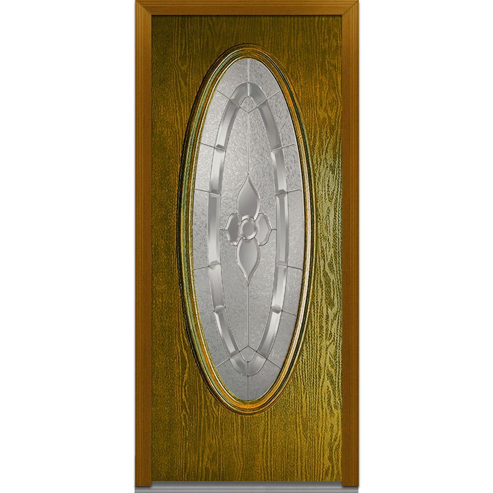 Milliken Millwork 36 in. x 80 in. Master Nouveau Decorative Glass Oval Lite Finished Oak Fiberglass Prehung Front Door