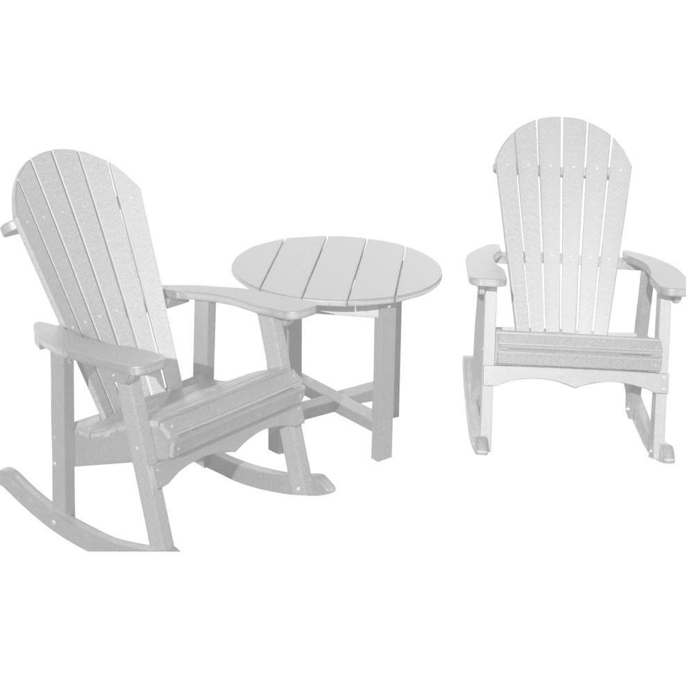 Vifah Roch Recycled Plastics 3-Piece Adirondack Patio Armchair Conversation Set in White-DISCONTINUED