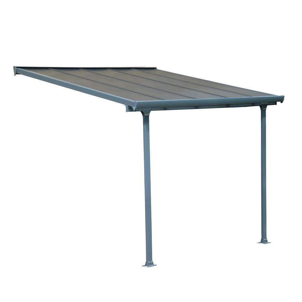 Palram Feria 10 Ft X 10 Ft Grey Patio Cover Awning