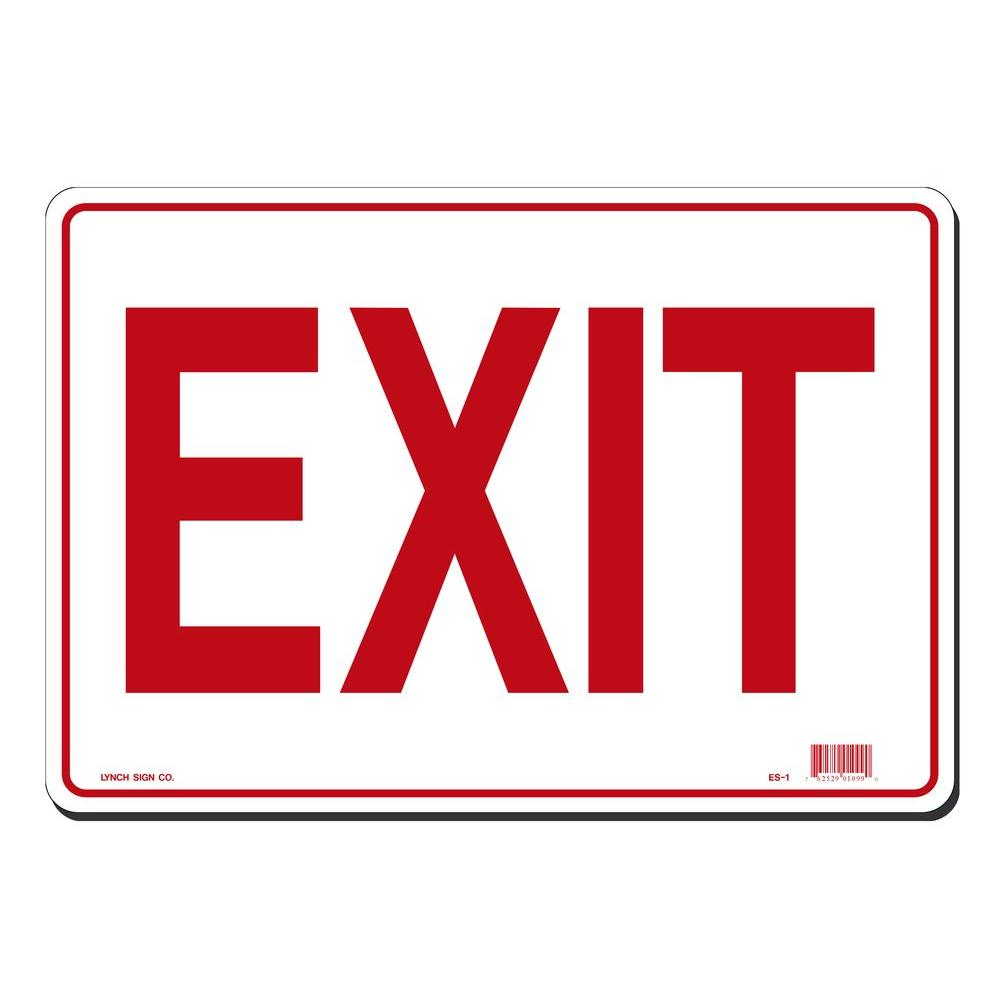 14 in. x 10 in. Red on White Plastic Exit Sign, White With Red Lettering