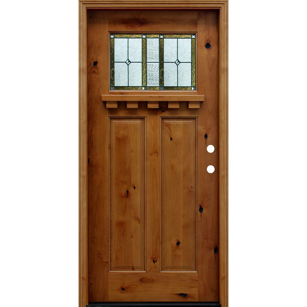 36 in. x 80 in. Craftsman Rustic 1/4 Lite Stained Knotty