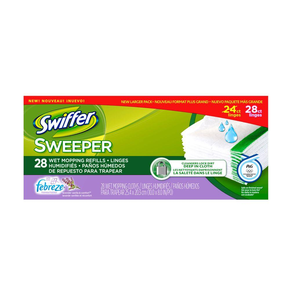 Sweeper Wet Cloth Refills with Febreze Lavender Vanilla and Comfort Scent