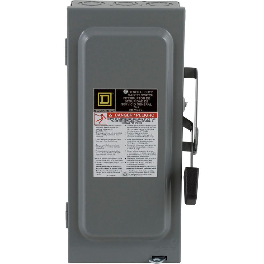 Square D 60 Amp 240-Volt Two-Pole Indoor General Duty Fusible Safety