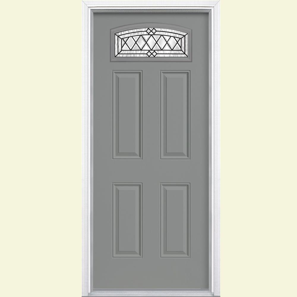 Masonite 36 in. x 80 in. Halifax Camber Fan Lite Painted Smooth Fiberglass Prehung Front Door with Brickmold in Vinyl Frame