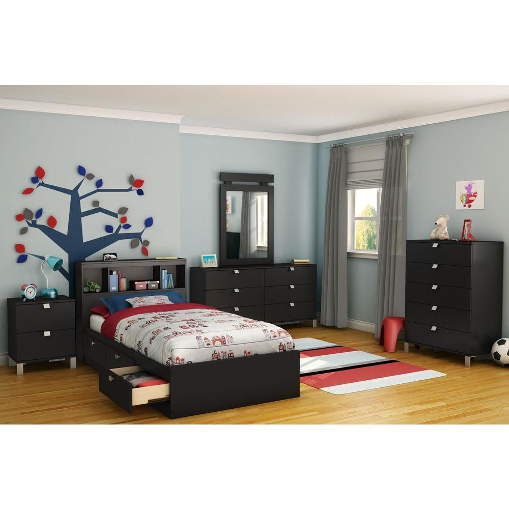 South Shore Spectra Twin Mates Bed in Pure Black