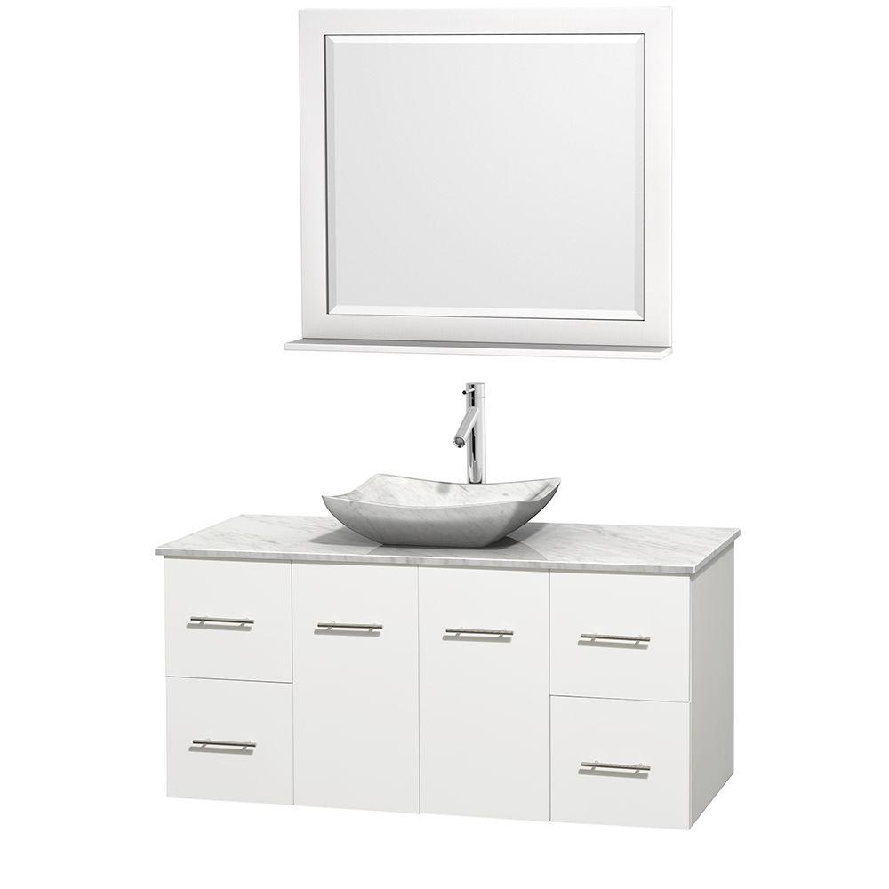 Centra 48 in. Vanity in White with Marble Vanity Top in