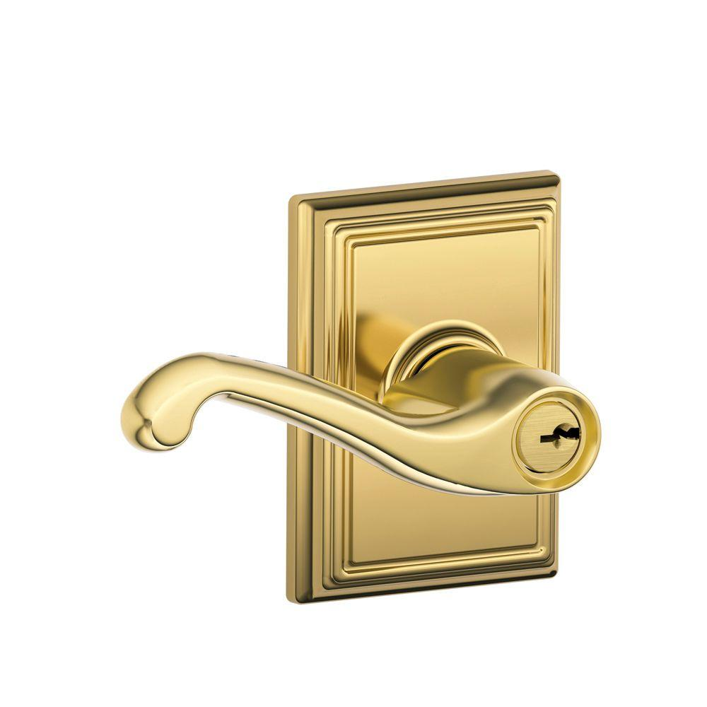 Addison Collection Bright Brass Flair Keyed Entry Lever