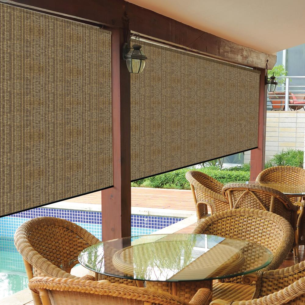 Coolaroo Walnut Cordless Exterior Roller Shade   120 In. W X 96 In.  L 460082   The Home Depot