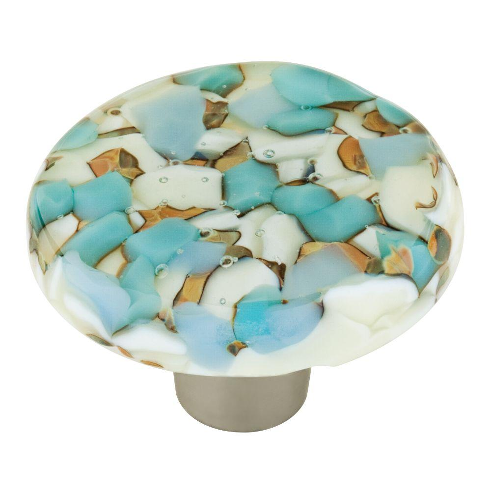 Homegrown Hardware by Liberty 1-1/2 in. Pebble Turquoise Circle Glass Cabinet Knob