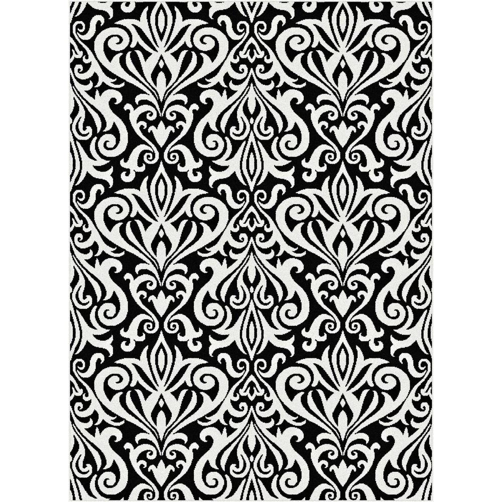 Tayse Rugs Metro Black 7 ft. 10 in. x 10 ft. 3 in. Contemporary Area Rug