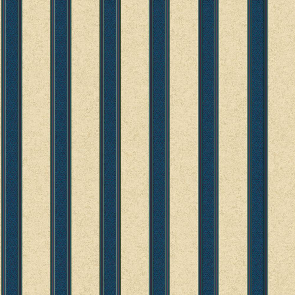 The Wallpaper Company 8 in. x 10 in. Blue Jewel Tone Damask Harlequin Stripe Wallpaper Sample-DISCONTINUED